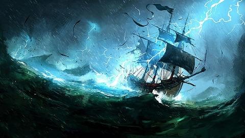 帆船嵐イラスト650