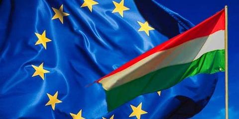 大EU旗に小イタリア旗重なってはためく