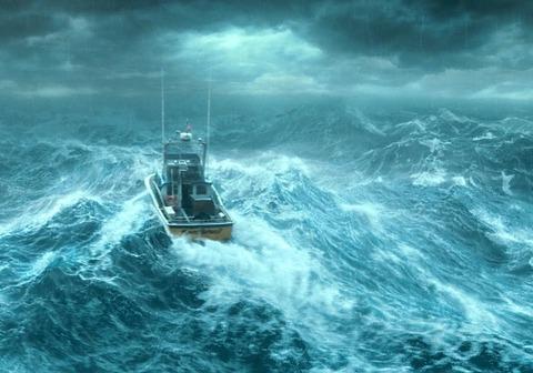 大嵐を行く漁船見下ろしbest650