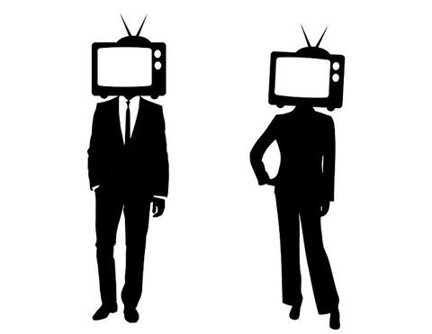 白黒テレビ頭男女650