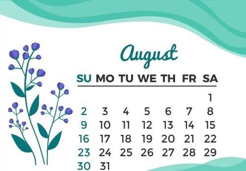 花の2020カレンダー 、8月