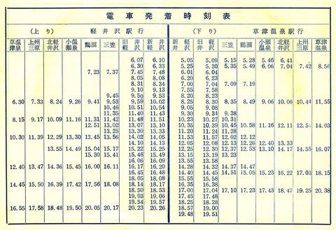1957 夏季時刻表