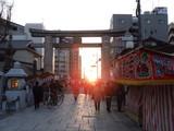四天王寺の西門からの夕日