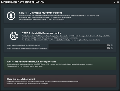 MDrummer Data Installationダイアログ