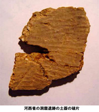 河西省の洞窟遺跡の土器の破片