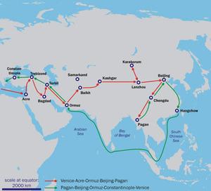 マルコ・ポーロの東方見聞録の経路