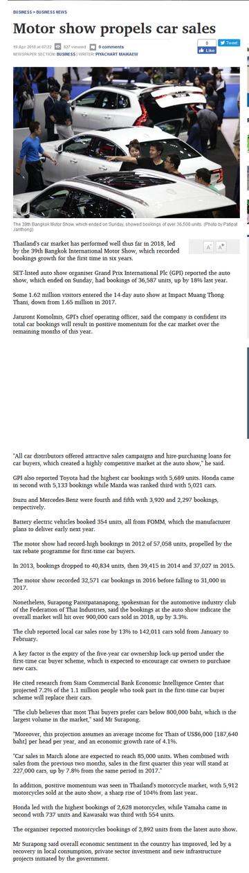 Motor show propels car sales  Bangkok Post- business