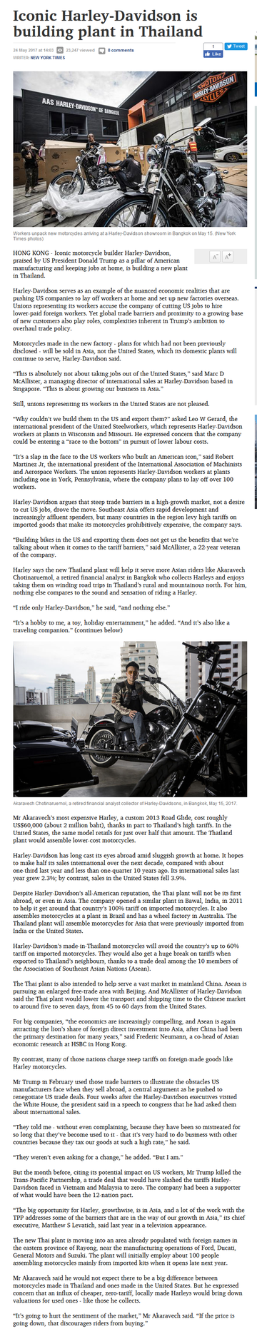 Harley-Davidson is building plant in Thailand
