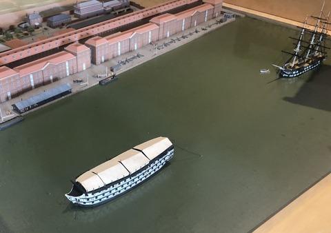 歴史博物館のジオラマ、戦艦の係留保管