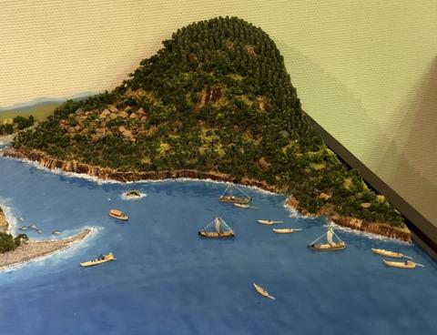 ジオラマの和船風景