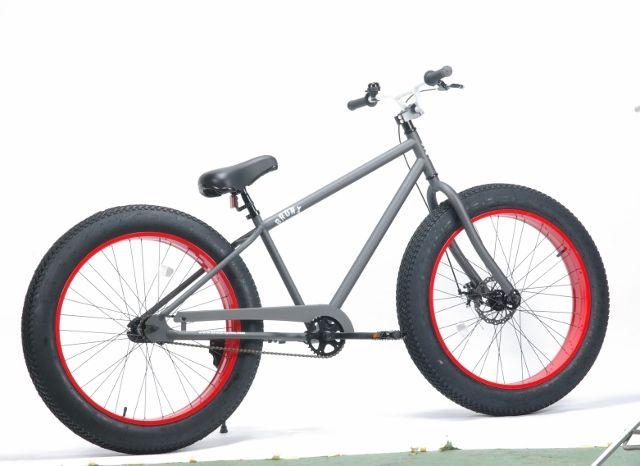自転車の 博多 自転車 修理 : マットグレイ×レッド(リム)