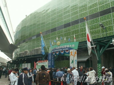 リニューアルのため、パネルで覆われた甲子園球場(2007.4.2)
