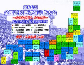 2014夏の甲子園代表校マップ(クリックで拡大)
