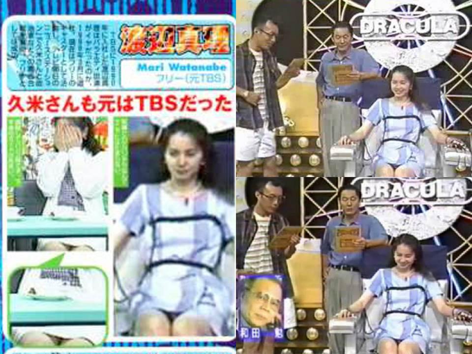 WS001502_015 嘘発見器風の拘束椅子のシーンです。  縛られた有名人たち(グラドル・女