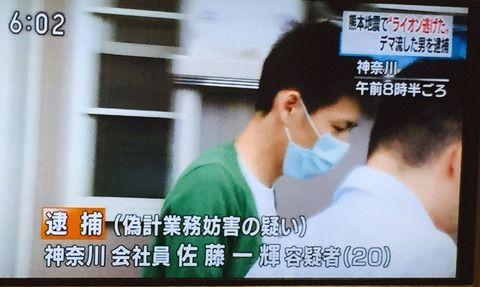 【バカッター】熊本地震発生時に「ライオンが逃げた」と書き込んだ男性、逮捕される。