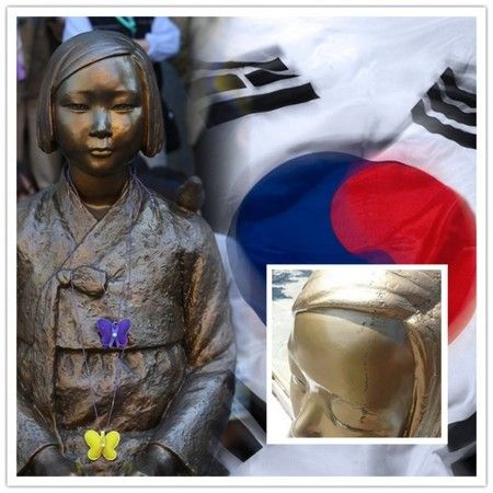 """""""管理放棄された韓国慰安婦像""""が『既に崩壊し始めていて』韓国人が激怒。日本人の仕業だと疑っている模様"""