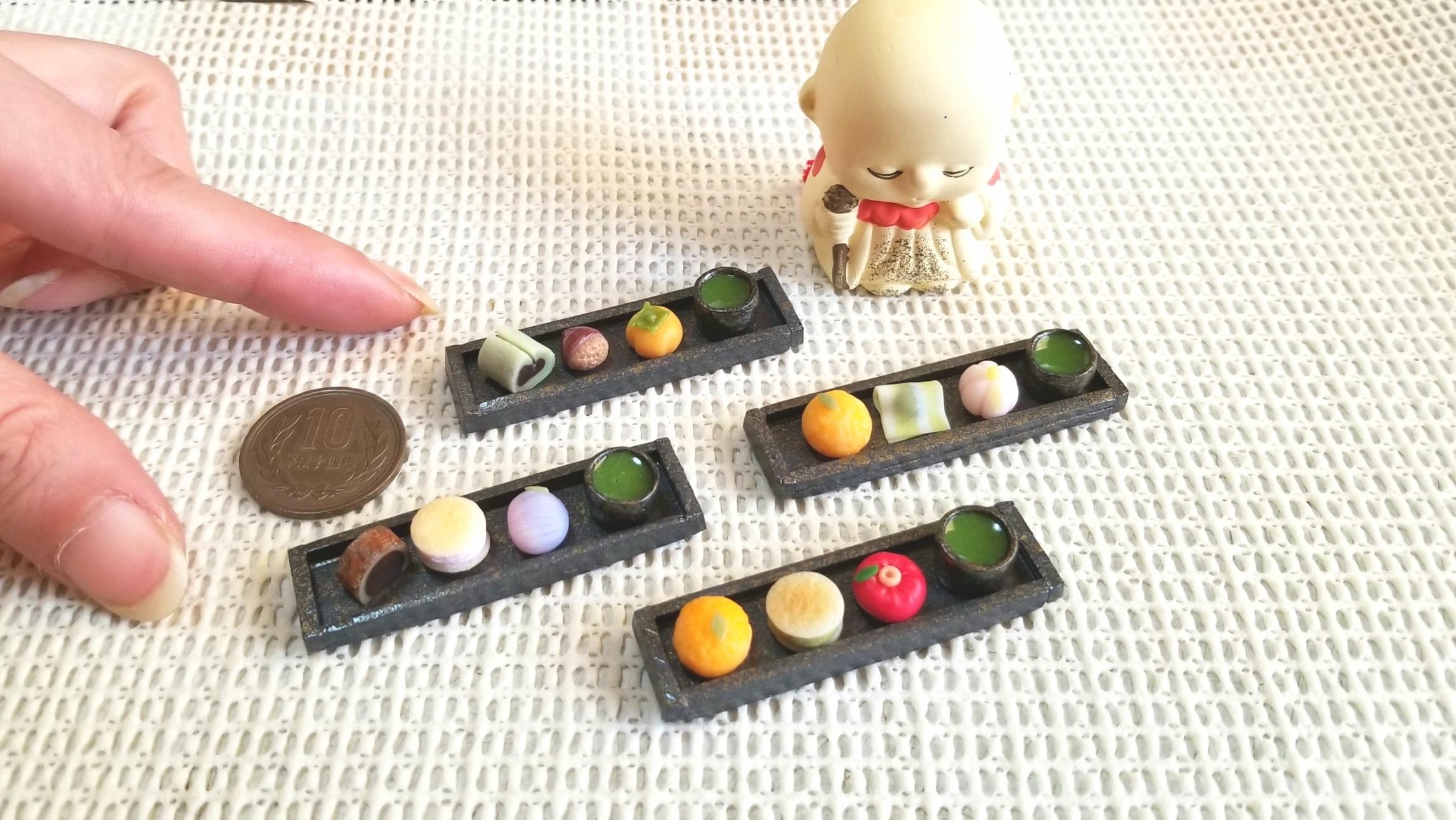 和菓子,美味,ミニチュア,ミニチュアフード,樹脂粘土,リカちゃん人形