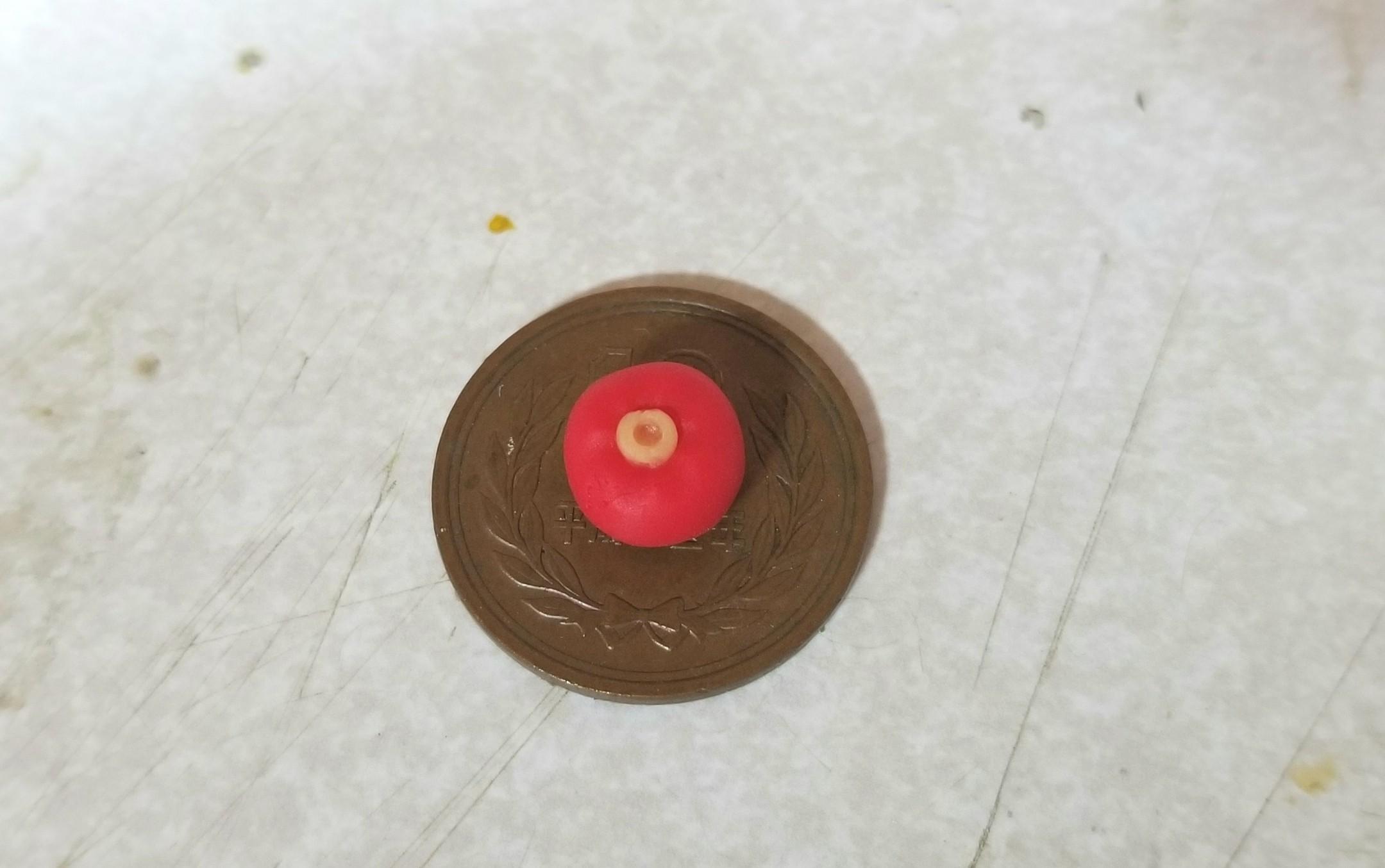 ミニチュアフード,和菓子,練りきり,椿,樹脂粘土,作り方,ドールハウス