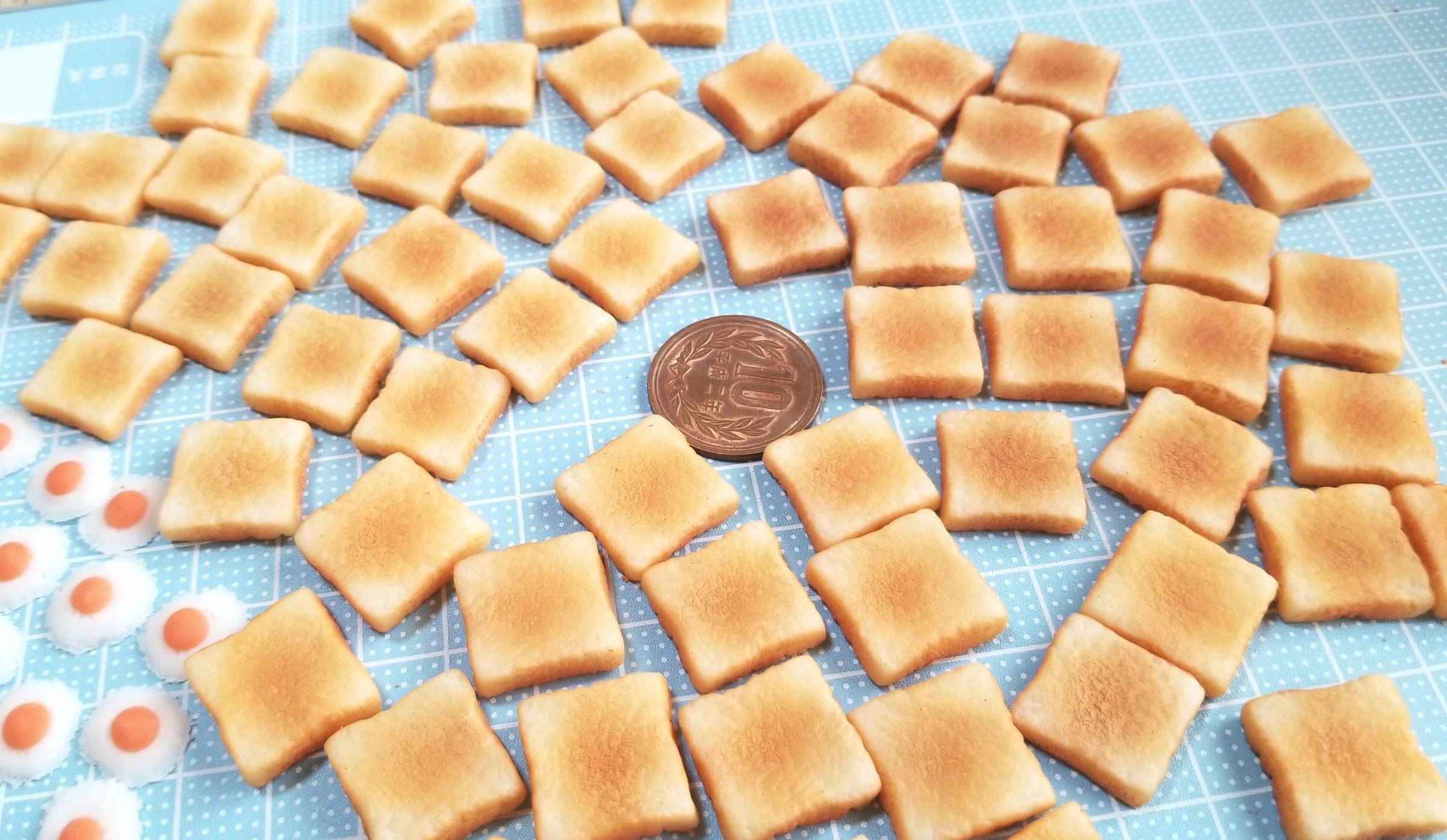 ミニチュアフード,食パン,トースト,作り方,樹脂粘土,ラピュタパン