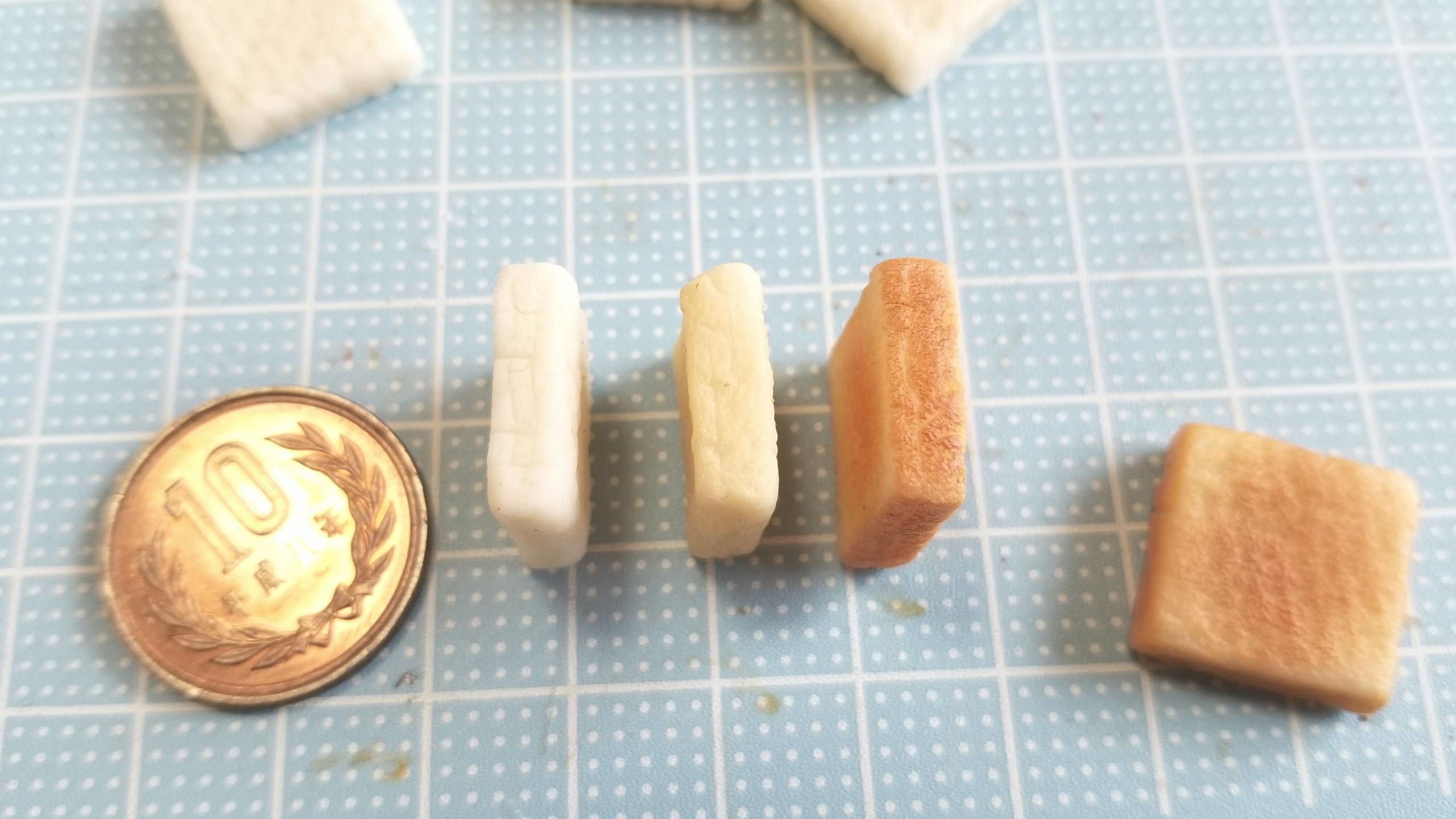 ミニチュアフードの作り方,トースト食パン,樹脂粘土アート自作着色