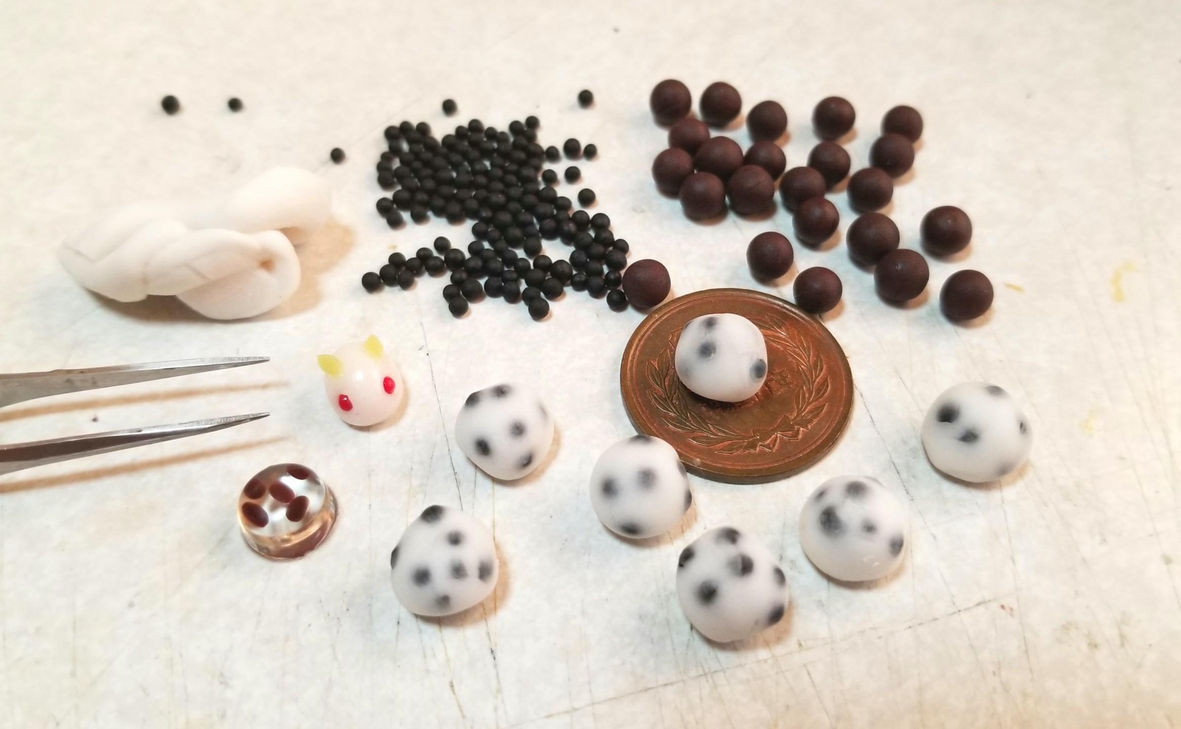 ミニチュアフード,豆大福,和菓子,作り方,樹脂粘土,ハンドメイド