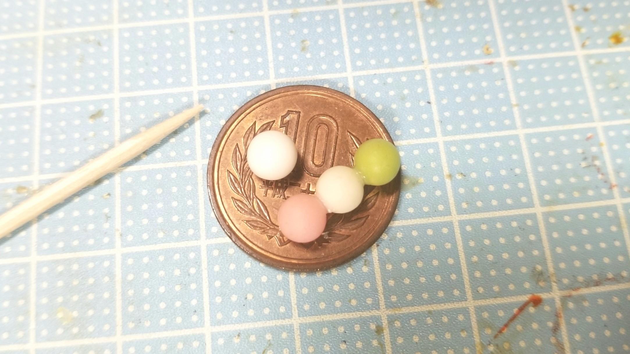 ミニチュアフード,和菓子お団子作り方,ハンドメイド,樹脂粘土ブログ