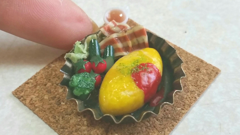 ミニチュアフード,おいしいオムライス,かわいいドール小物,樹脂粘土