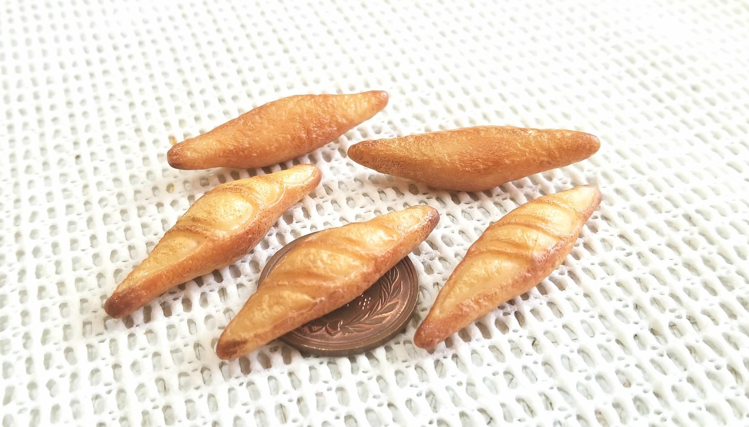 ミニチュアフランスパン,バケット,樹脂粘土,ドール用品小物,美味