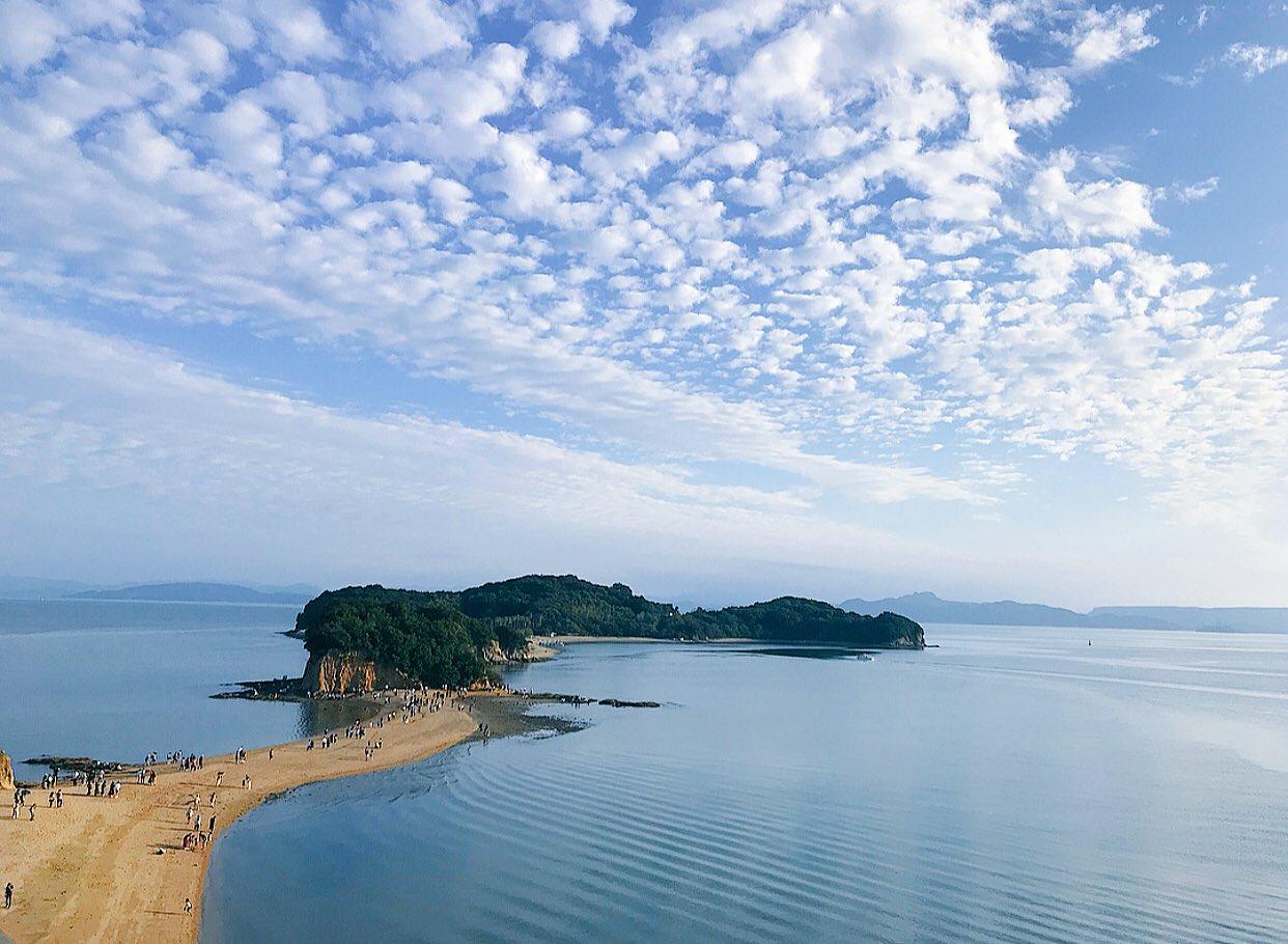 小豆島の綺麗な景色,晴れ渡る雲,ひつじ雲,素敵な風景,美しい眺め