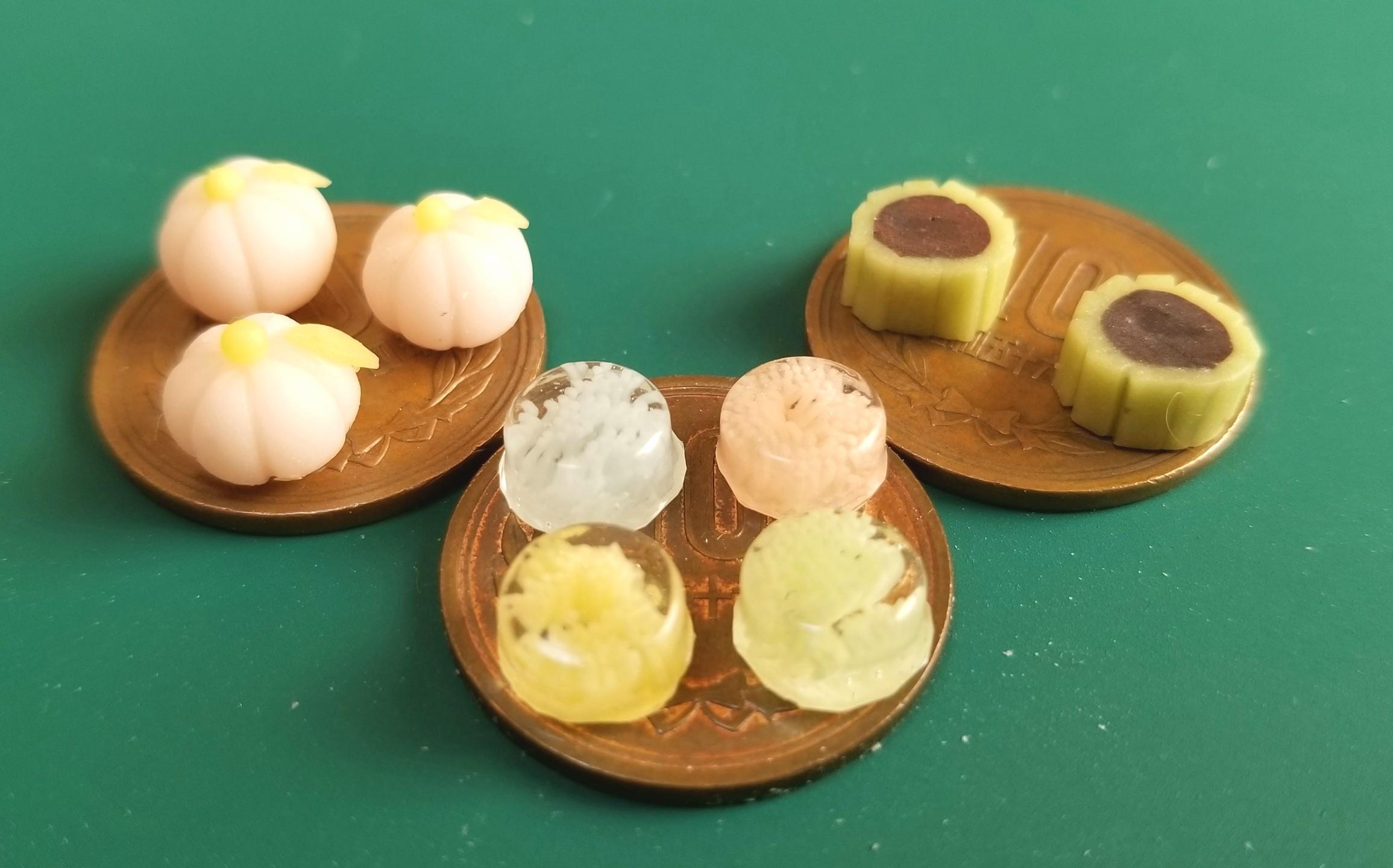 ミニチュアフード,和菓子,水ようかん,練りきり,生菓子,樹脂粘土,食品
