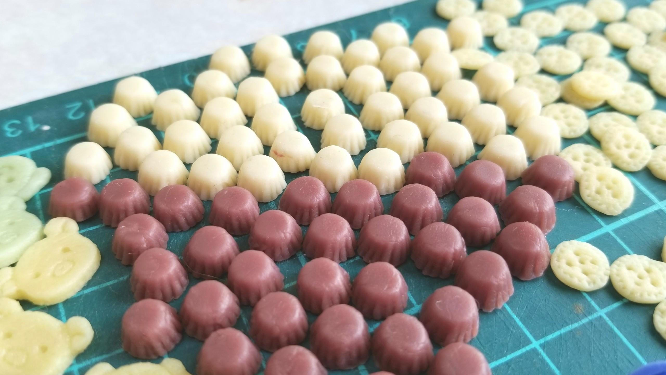 ミニカップケーキ,着色,作り方,ミニチュア,樹脂粘土,ドールハウス