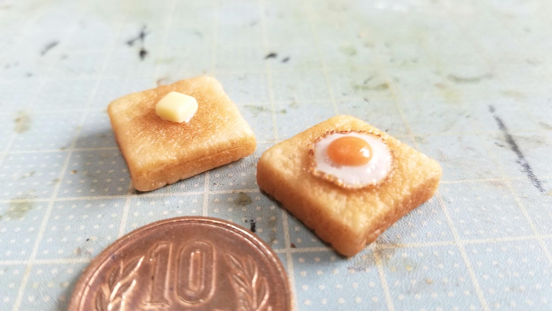 ミニチュアフードの作り方,バタートースト食パンぱん,おいしそう