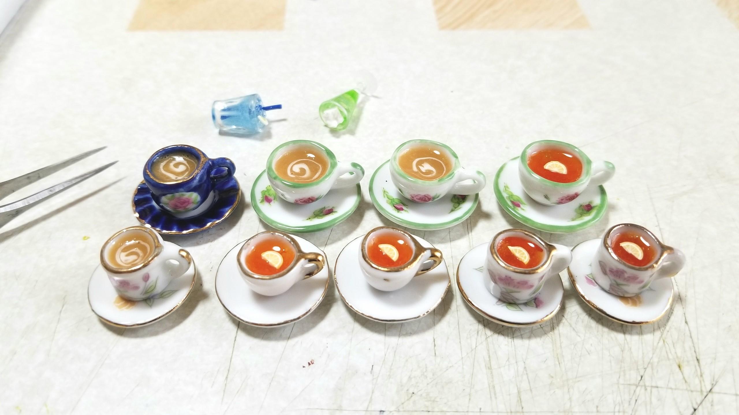 ミルクティー,レモン,ドリンク,ミニチュアフード,レジン,陶器,カップ
