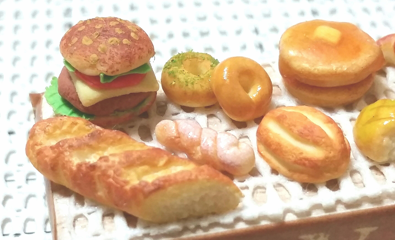 ミニチュアフード,ハンバーガー,バケット,ベーグル,ホットケーキ