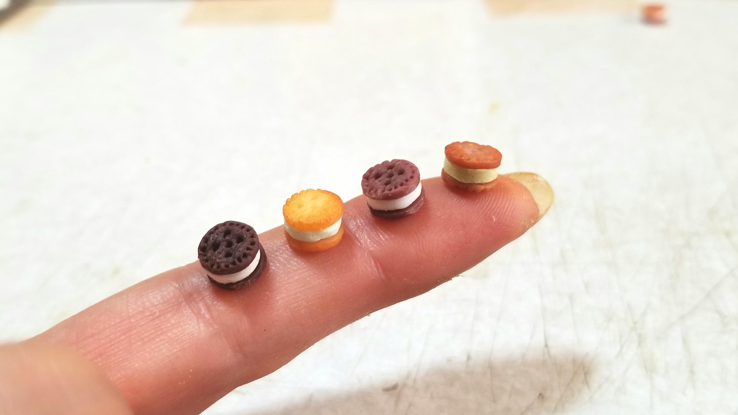 クッキーサンドアイスクリーム,ミニチュアフード,樹脂粘土,フェイク