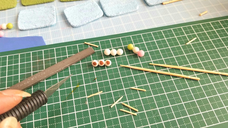 竹串,お団子,作り方,ミニチュアフード,木製,削る,ドールハウス