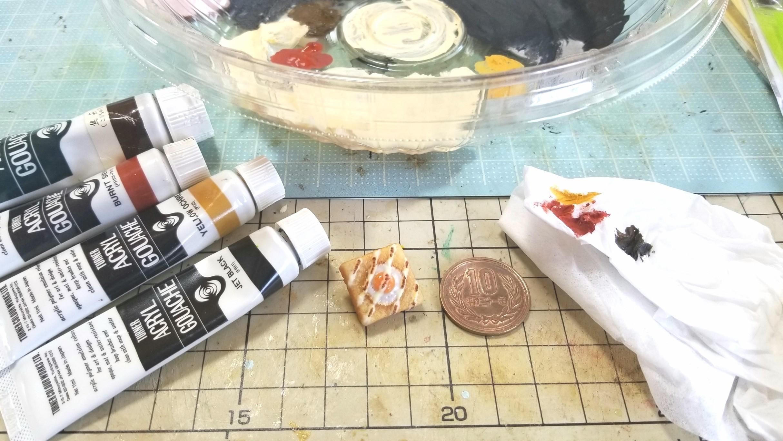 ミニチュアパンの作り方,トースト食パン,樹脂粘土着色,ハンドメイド
