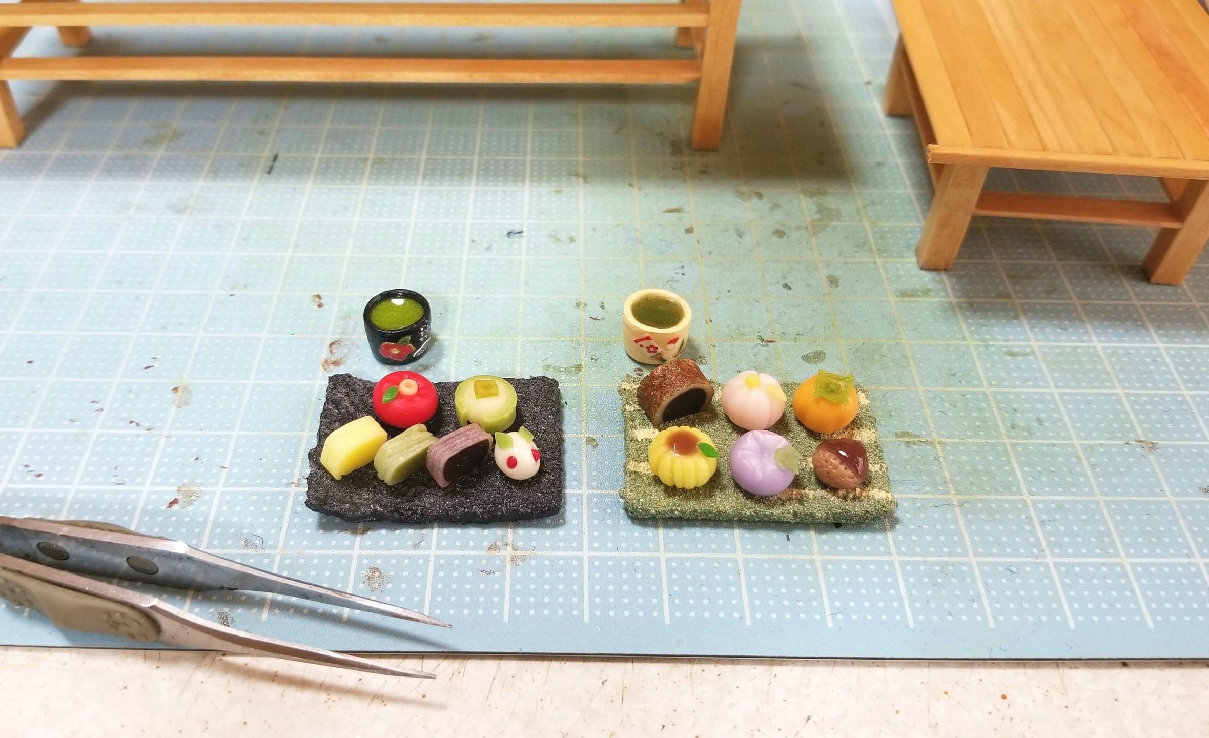 ミニチュア,ドール,お盆,和菓子屋,トレー,作り方,お茶菓子セット