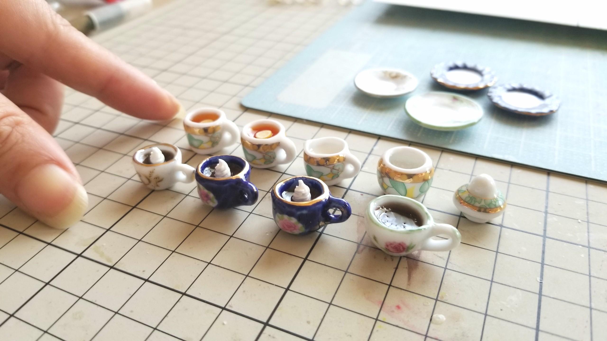 ミニチュアフード,選べる陶器のティーカップドリンク,かわいい飲み物