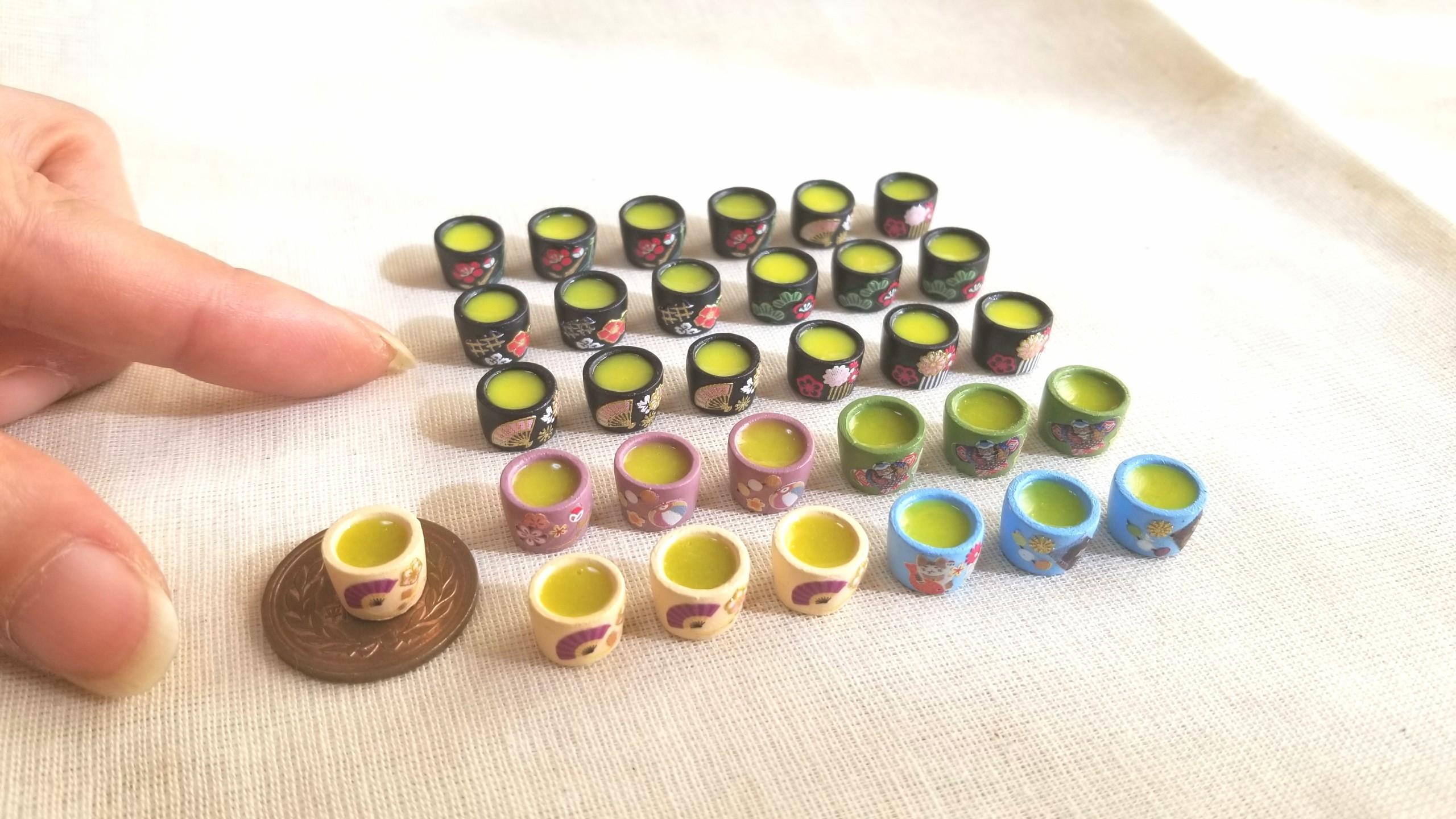 お茶,抹茶,ミニチュア,粘土,レジン,ドリンク,ドール,リカちゃん人形