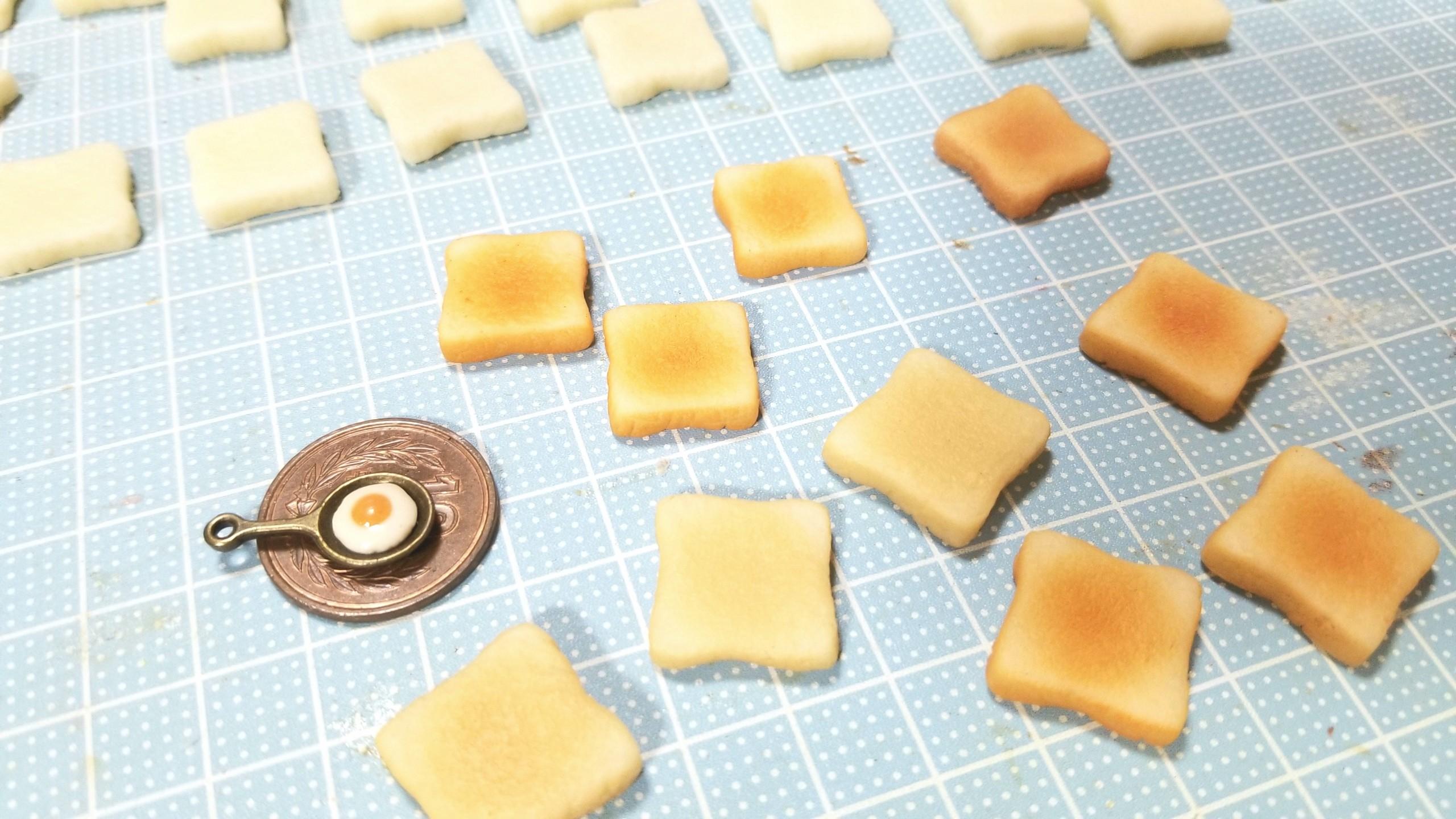 食パン,トースト,ミニチュアフードの作り方,樹脂粘土,着色