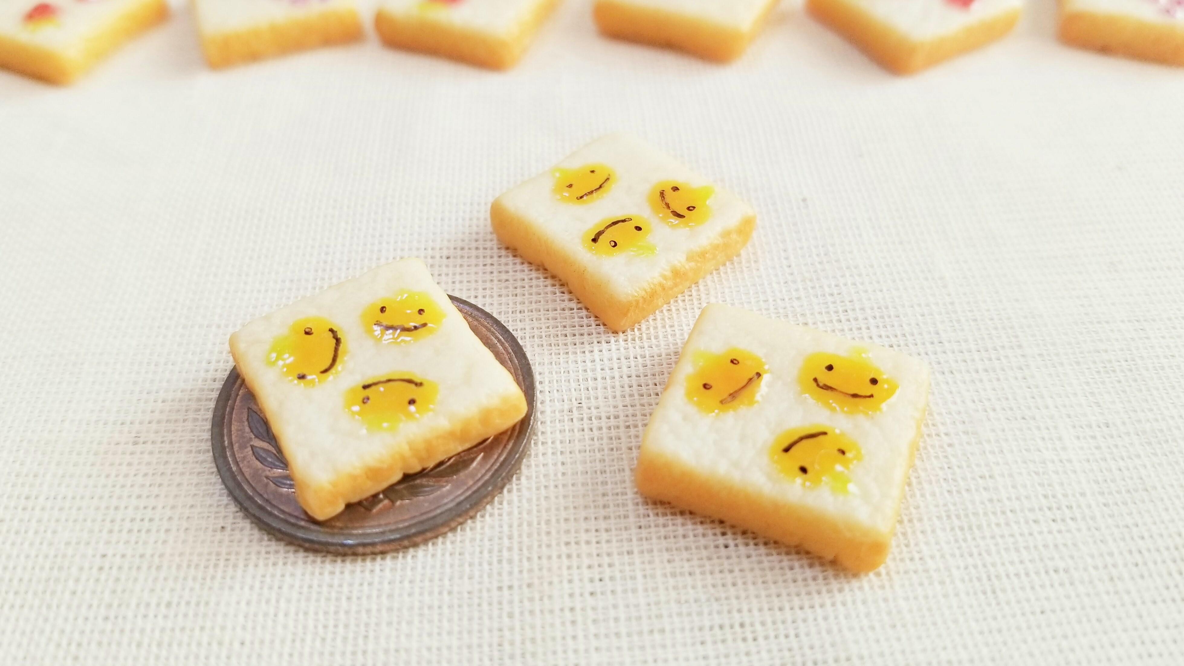 ミニチュアフードかわいい柄トースト自作手作り食パンアート作品人気