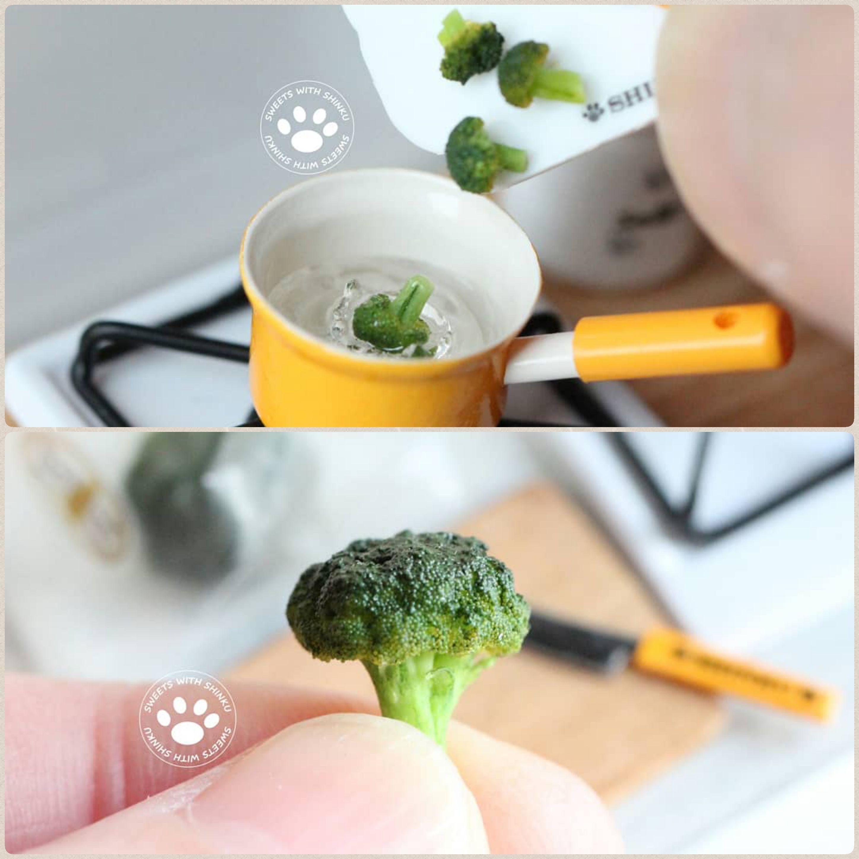 ミニチュアキッチンままごと,楽しく手作り料理,ブロッコリーを洗う