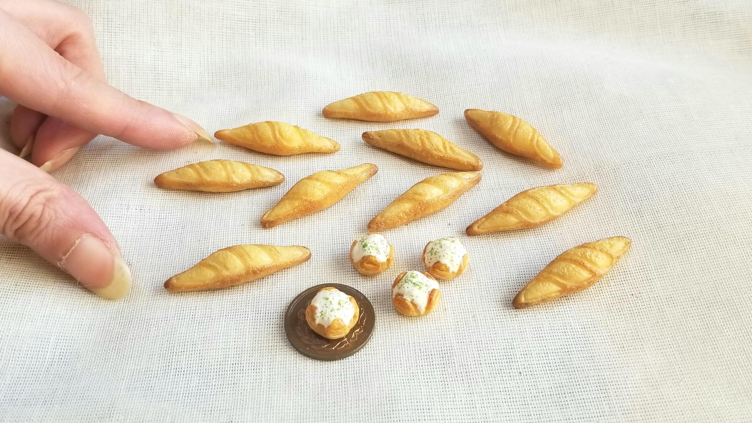 かわいいミニチュアフード,ミンネで販売中,小さなパン,よもぎブログ