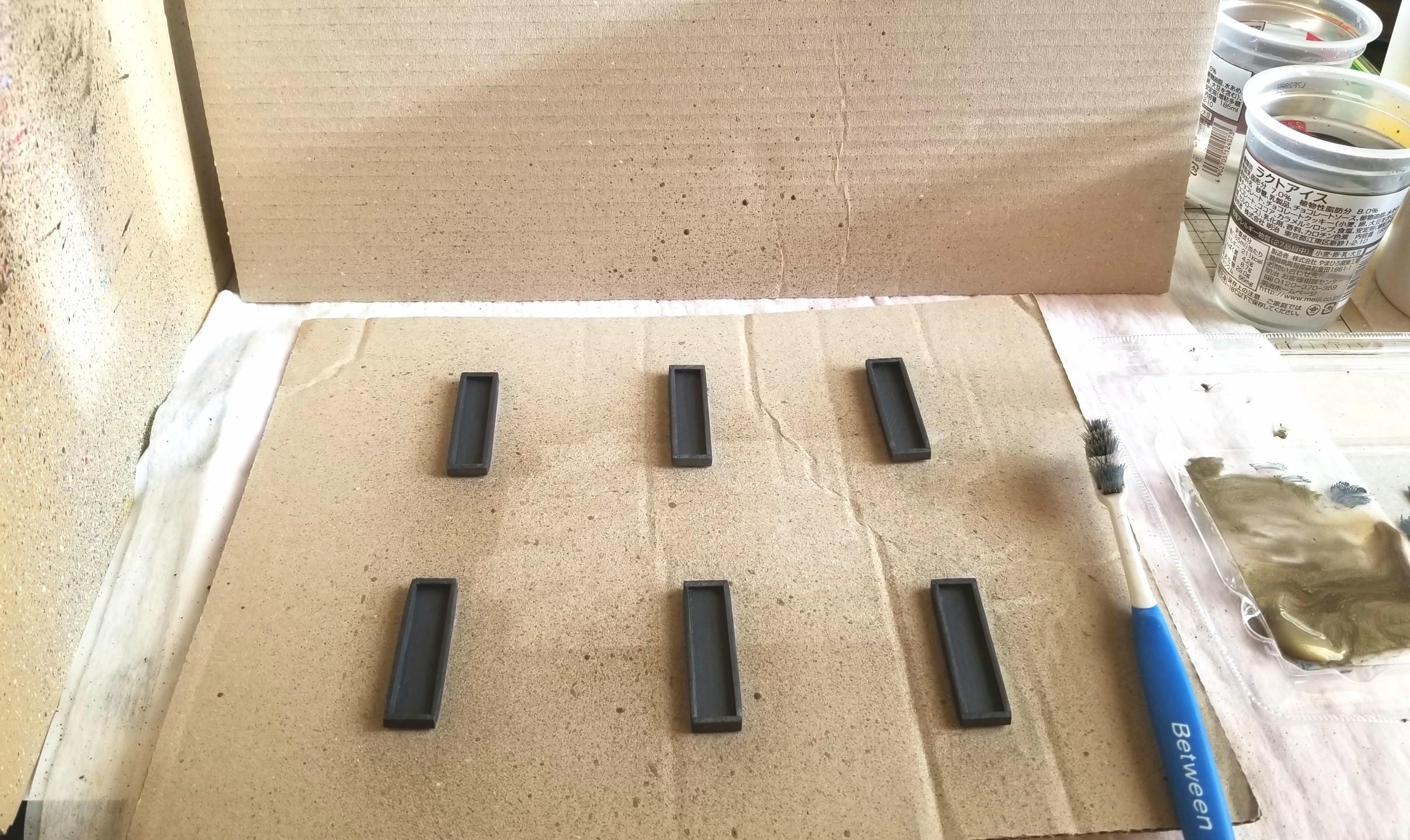 ミニチュアフード,スプラッタリング,木製トレー,木箱,作り方,桧,着色