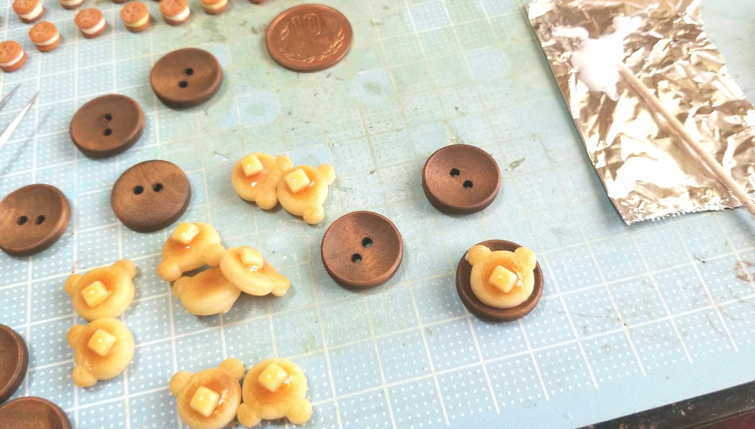 ブローチ,ホットケーキ,クマ,作り方,ミニチュアフード,アクセサリー