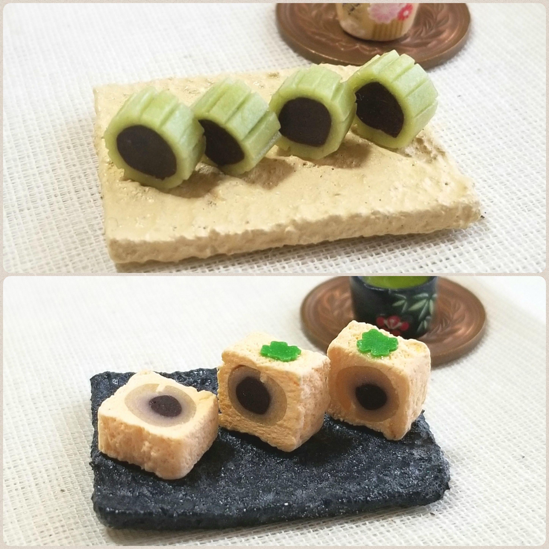 あんこ生菓子,和菓子屋,ミニチュア,柿の餡菓子,小さくて可愛い