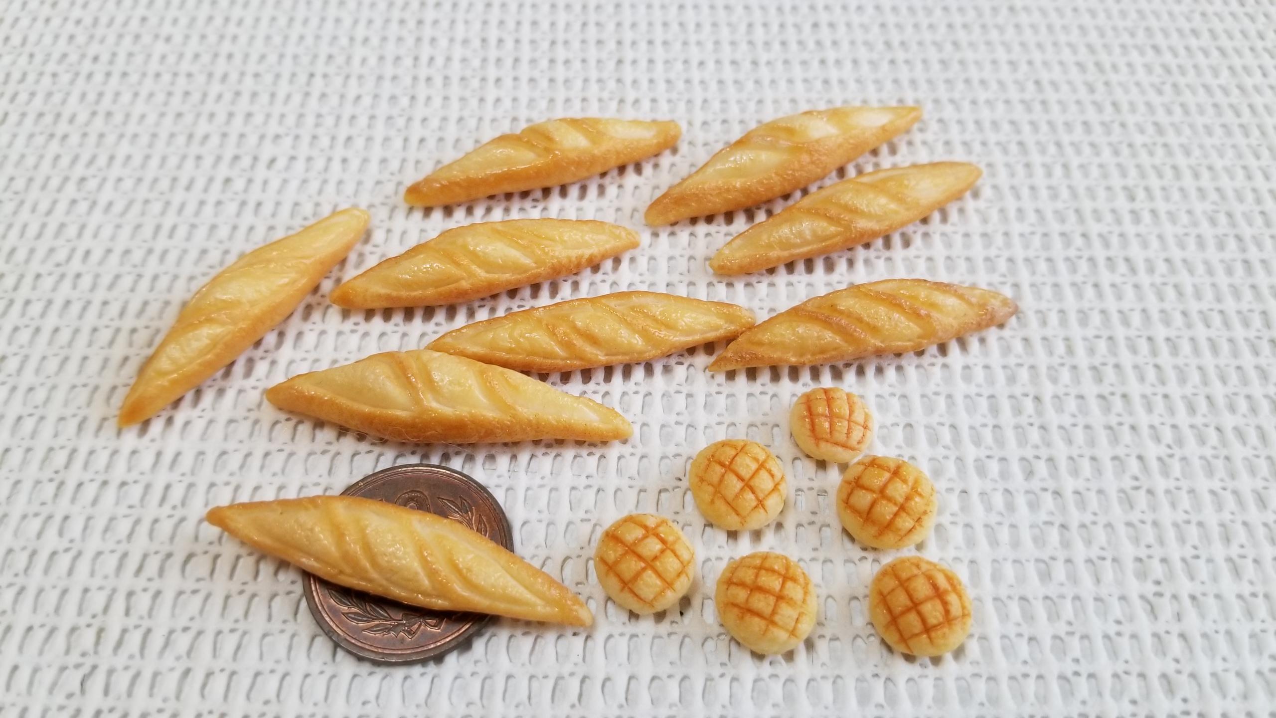 ミニチュア, パン, メロンパン, バケット, 樹脂粘土, 食品サンプル