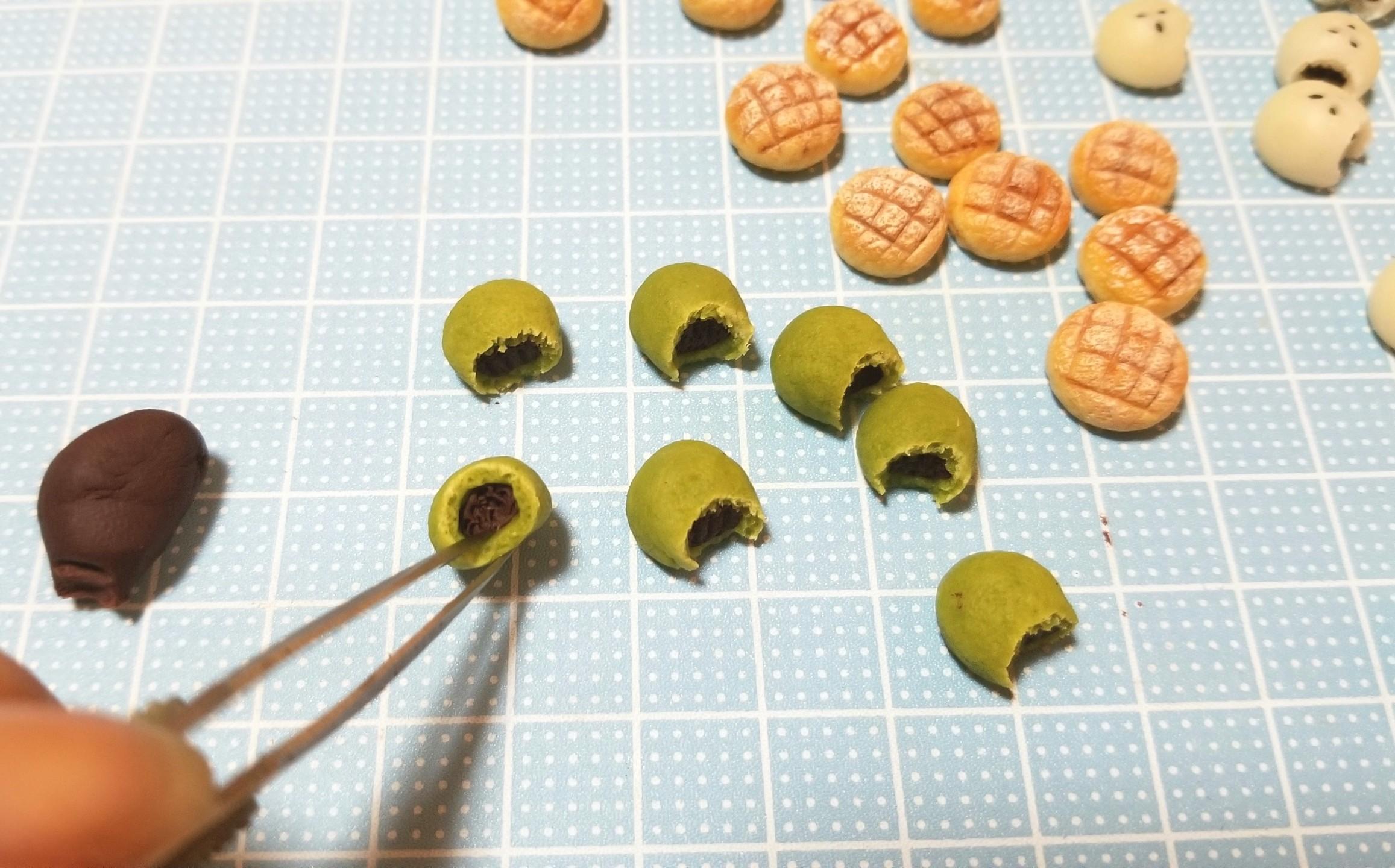 ミニチュアフード,よもぎパンの作り方,樹脂粘土,ドール
