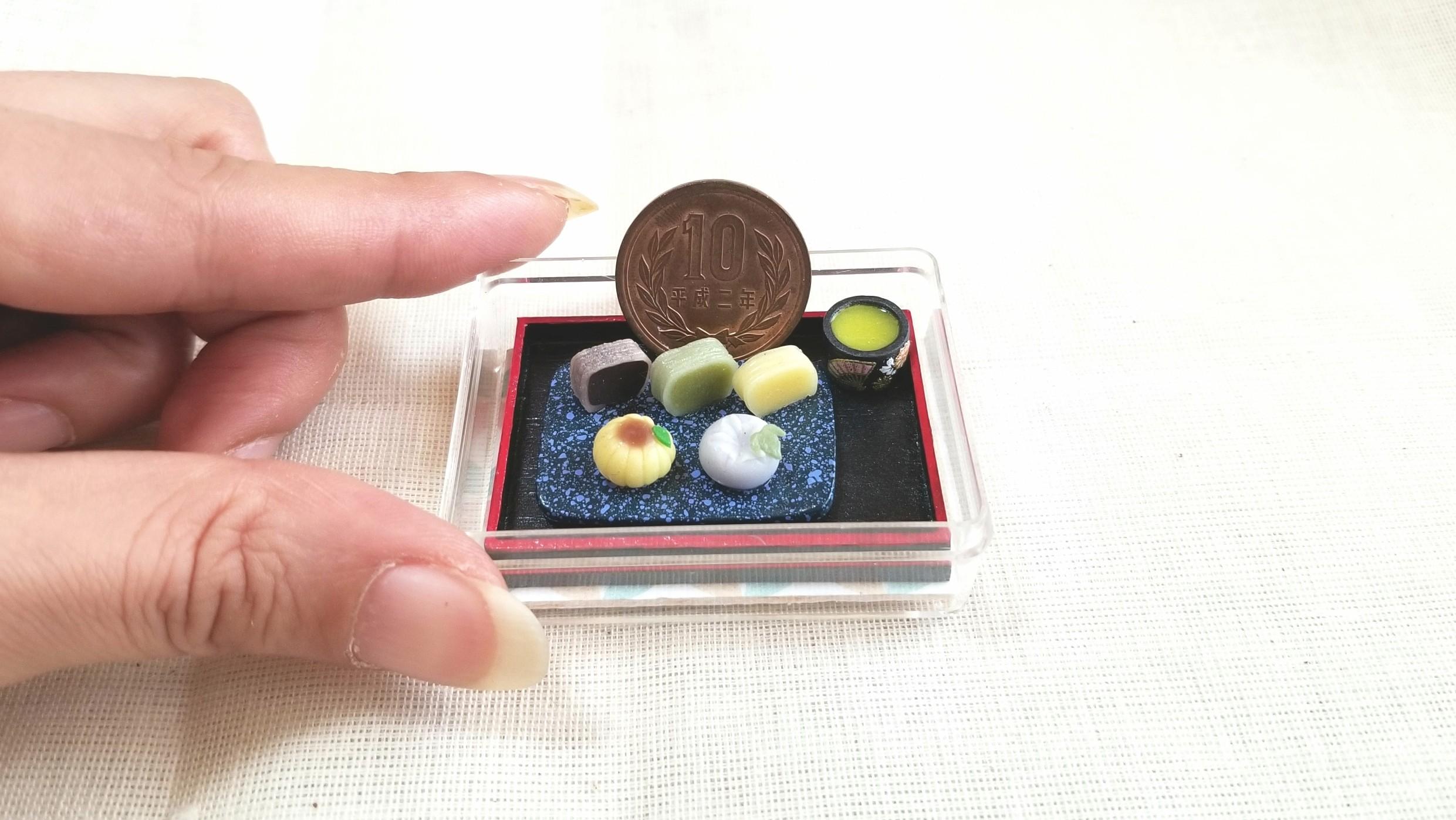 和菓子,三色ようかん,ミニチュア,樹脂粘土,食品サンプル,ドール遊び